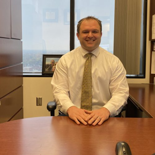 Steve Schott '07 in his Franklin County office where he works as a prosecutor in the gang unit