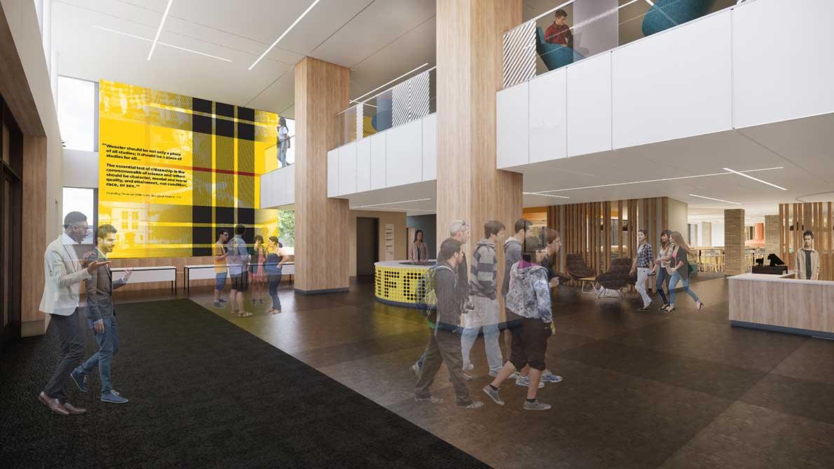 rendering of student center atrium