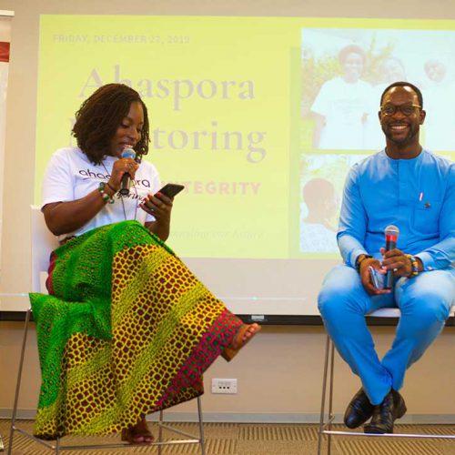 Christabel Dadzie '04 speaks at a Ahaspora mentoring event in 2019.