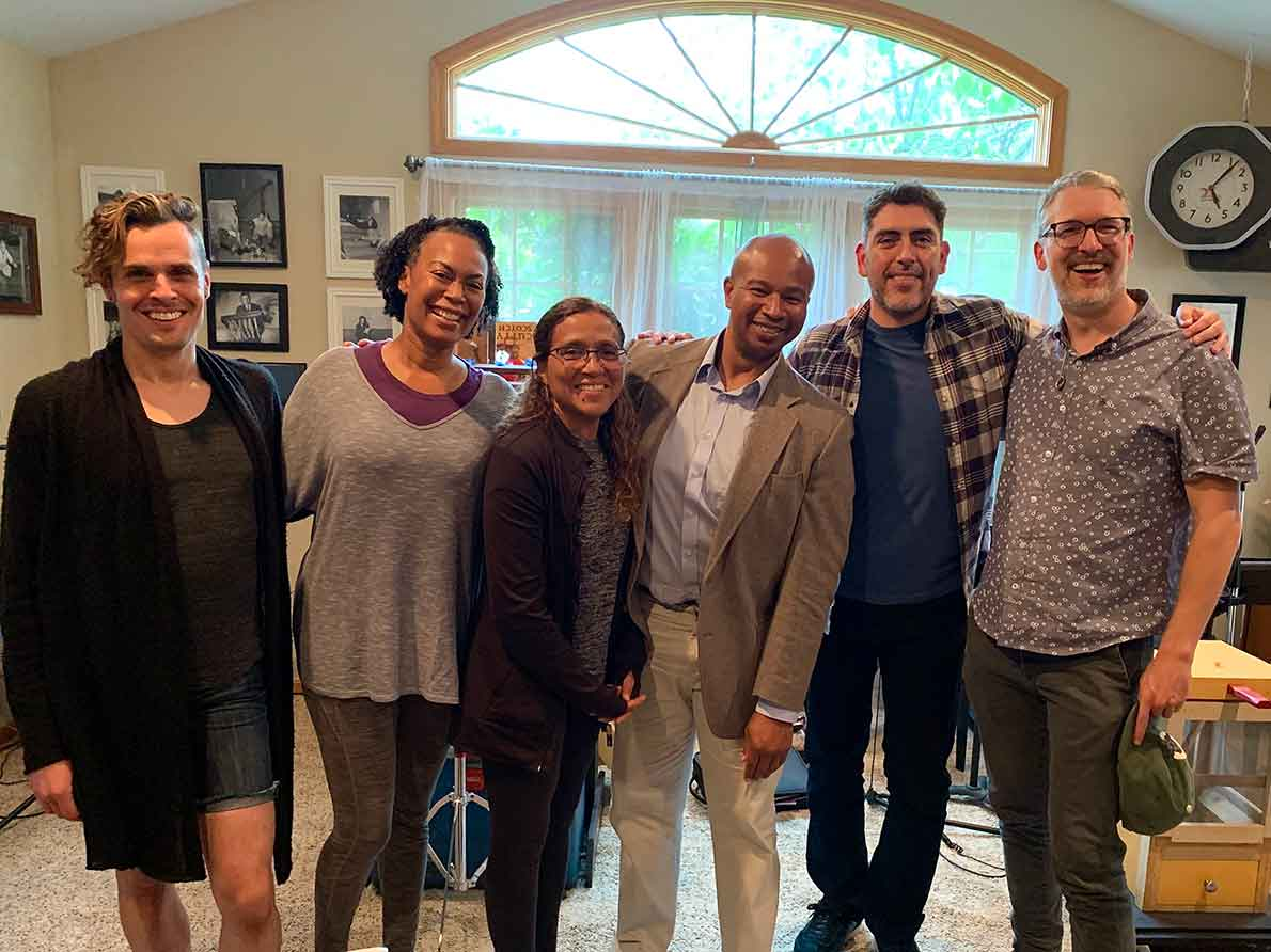 The cast of Under the Sycamores (Ray Caspio, Treva Offutt, Robin Pease and Leilani Barrett) with director Jimmy Noriega and playwright Les Hunter at Radio on the Lake Theatre's recording studio.