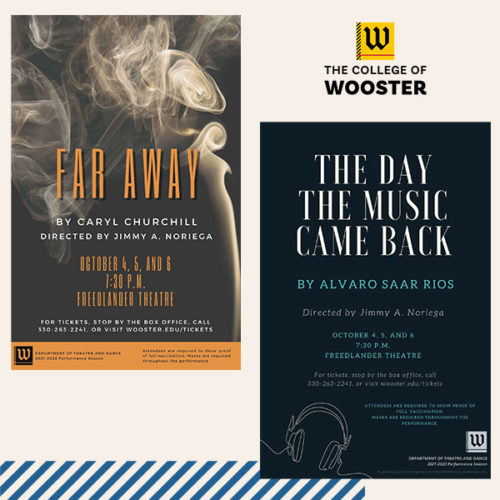 posters for Far Away and The Day The Music Came Back at The College of Wooster