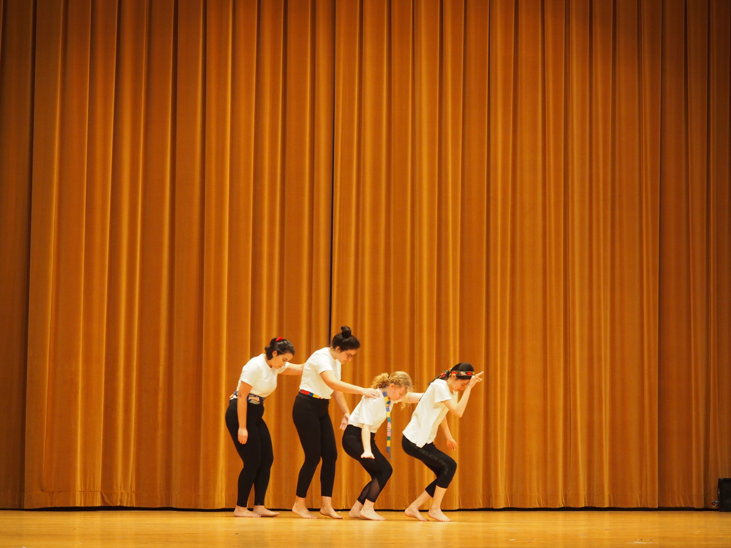 Students participate in movement exercise