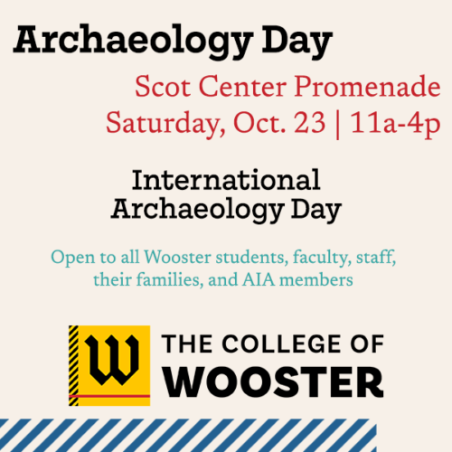graphic with details for archaeology day at The College of Wooster